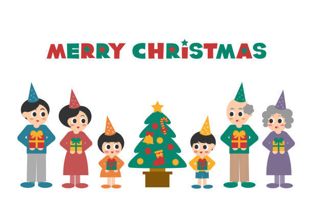 illustration of family(merry christmas) - old man smiling backgrounds stock illustrations, clip art, cartoons, & icons