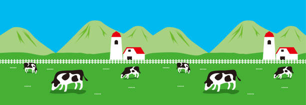 Illustration of Farm. The right and the left connect. paddock stock illustrations