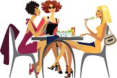 Illustration of fashionable women having lunch
