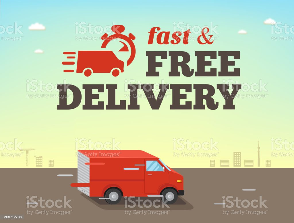 Illustration of  fast shipping concept. Truck van of delivery vector art illustration
