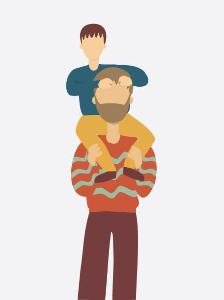 Illustration of father carrying his son on sholders vector art illustration