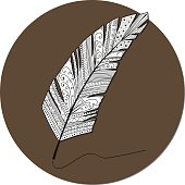 illustration of feather making line on white background