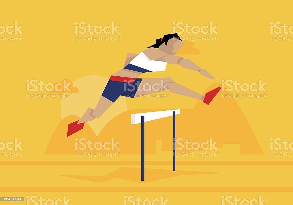 Illustration Of Female Athlete Competing In Hurdles Race vector art illustration