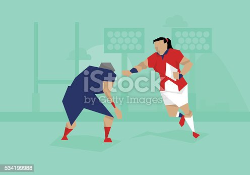 Illustration Of Female Rugby Competing In Match
