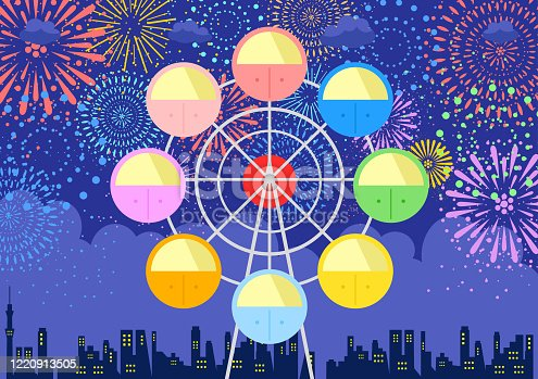 illustration of Ferris wheel and fireworks in the night sky