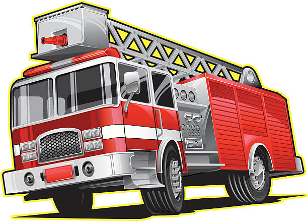 Illustration of firetruck lines in yellow Vector illustration of a red firetruck in motion. fire engine stock illustrations
