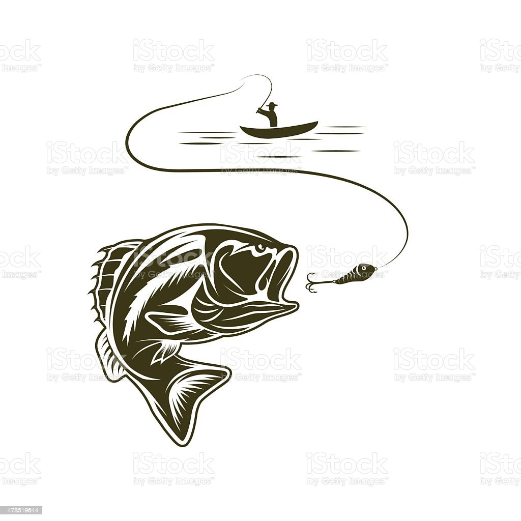 illustration of fisherman in a boat and big mouth bass vector art illustration