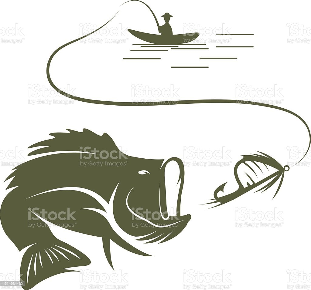 illustration of fisherman in a boat and largemouth bass vector art illustration