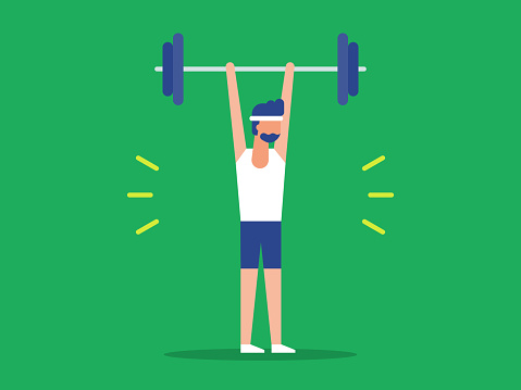 Illustration of fit man lifting barbell over head