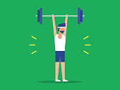 istock Illustration of fit man lifting barbell over head 1219629062
