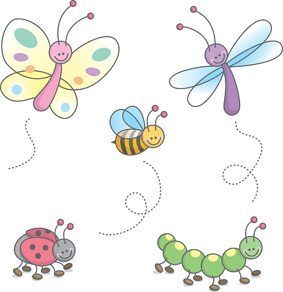 Illustration of five kinds of bugs cheerfully colored