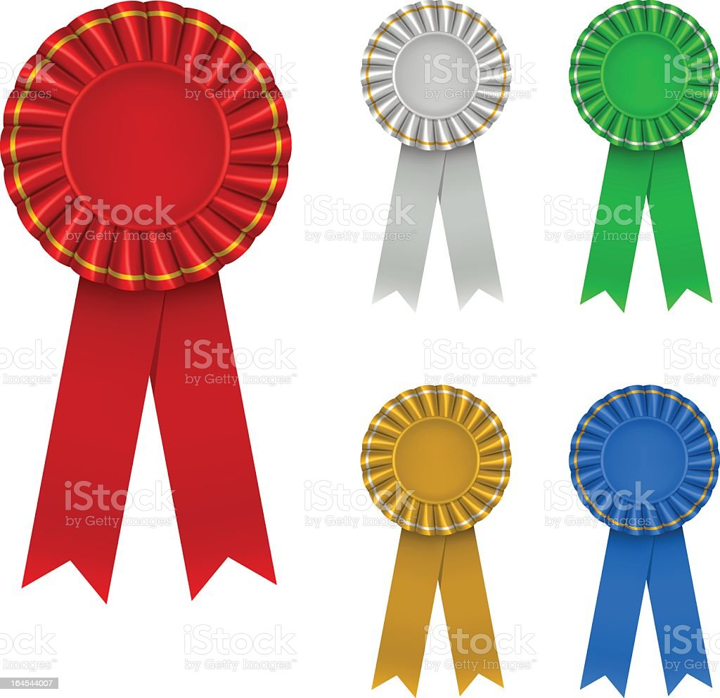 Illustration of five multicolored award ribbons on white royalty-free stock vector art