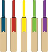 Illustration of five multicolored cricket bats on white