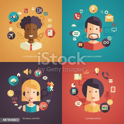 Illustration of vector flat design business composition with technical support