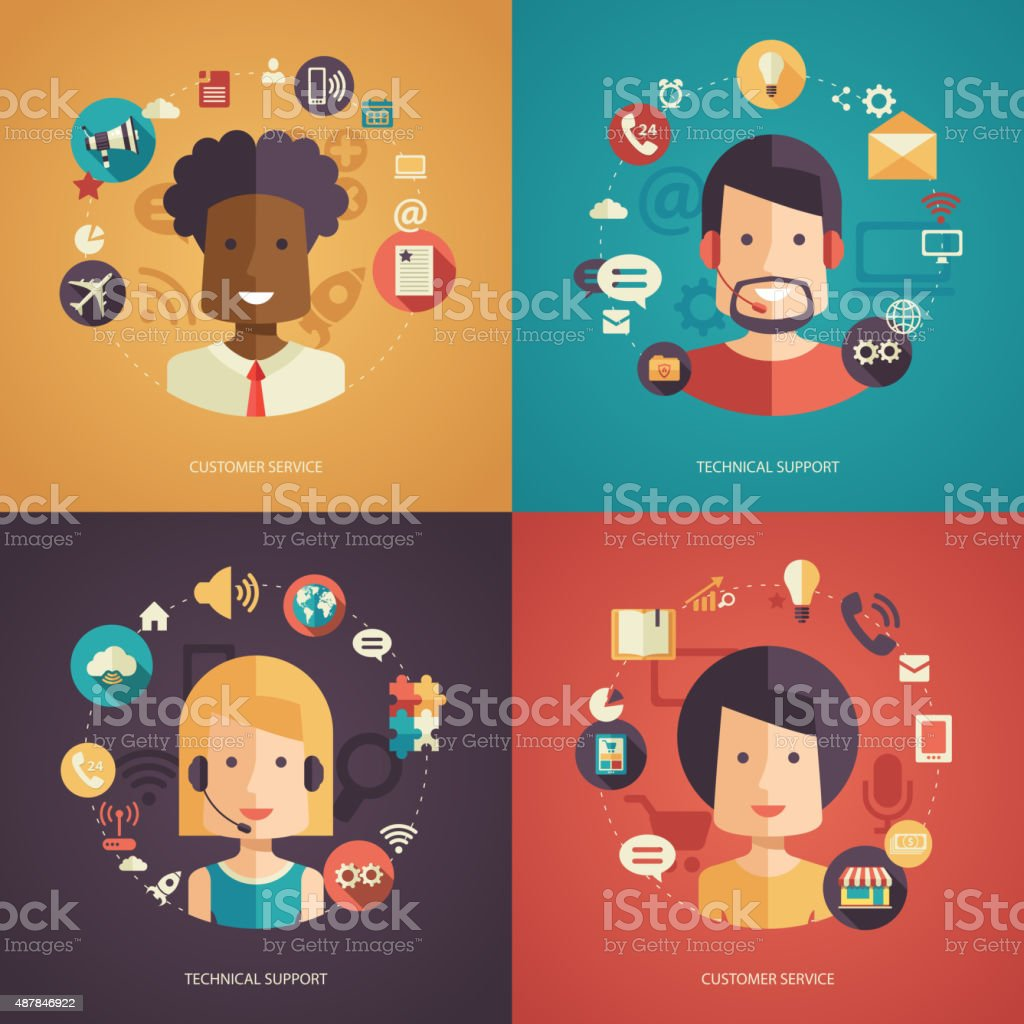 Illustration of flat design business composition with technical support vector art illustration