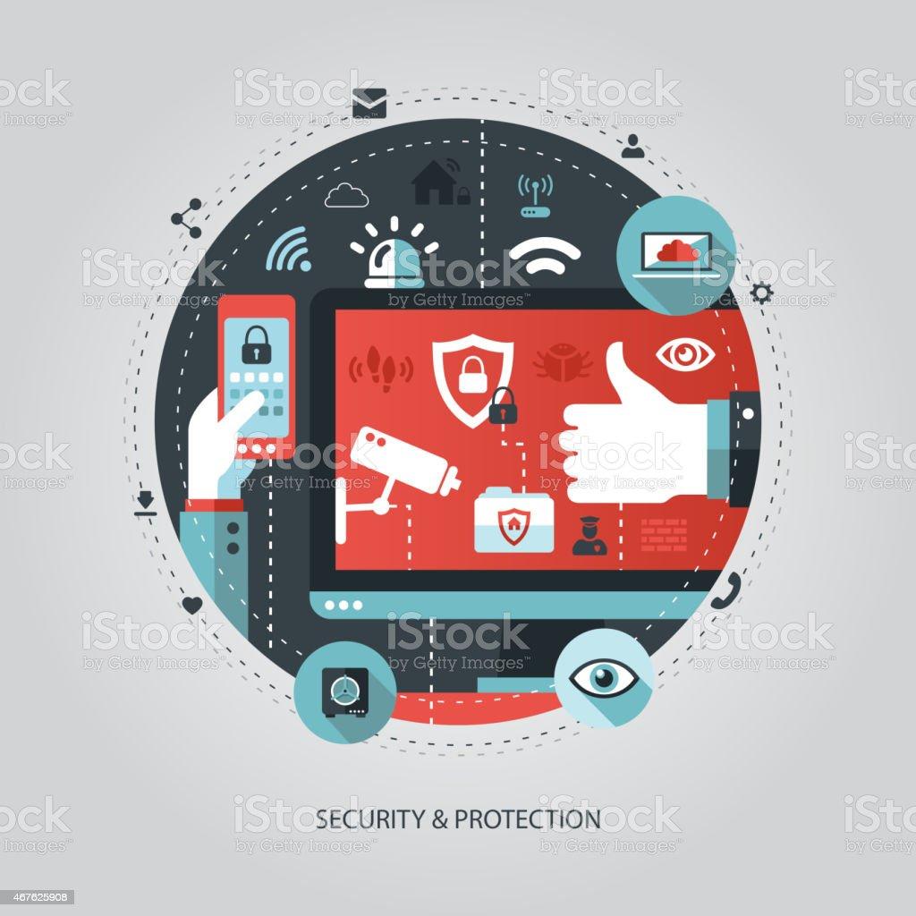 Illustration of flat design business illustration with security vector art illustration