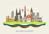 Illustration of flat design composition with famous european world landmarks
