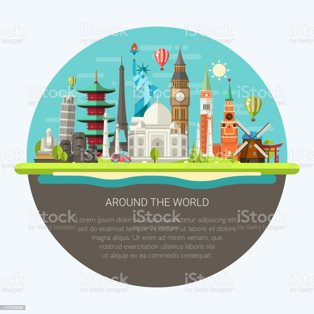 Illustration  of flat design postcard with famous world landmark vector art illustration