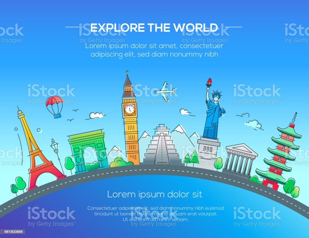 Illustration of flat design postcard with famous world landmark vector art illustration