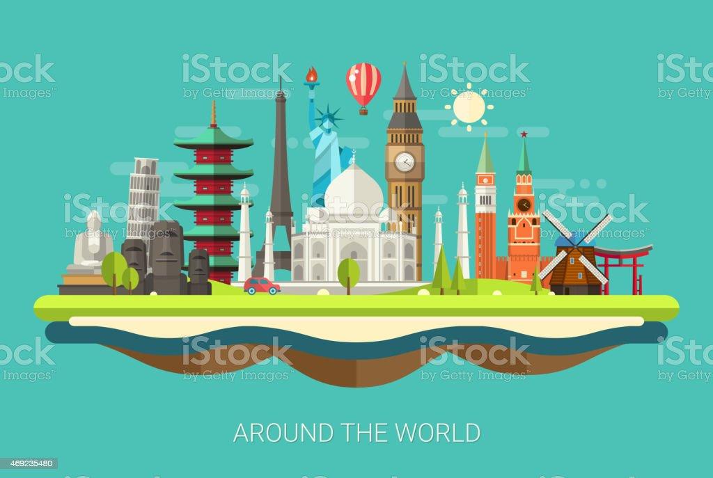 Illustration de la carte postale design plat avec icônes de monde monuments célèbres - clipart vectoriel de 2015 libre de droits