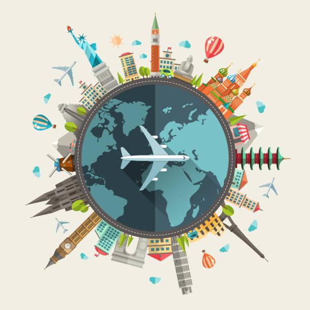 ilustracja przedstawiająca płaska konstrukcja podróże skład z znanych zabytków na świecie - podróżowanie stock illustrations