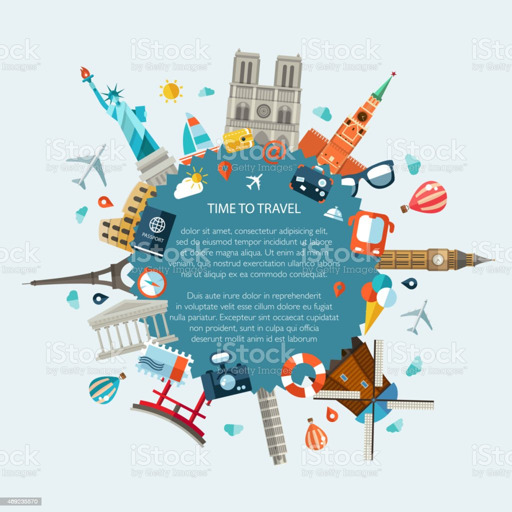 Illustration of flat design travel composition with famous world landmarks vector art illustration
