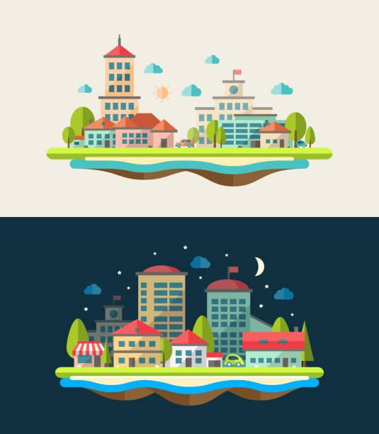 Illustration of flat design urban landscape compositions vector art illustration