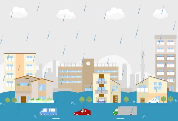 集中豪雨 イラスト素材 - iStock