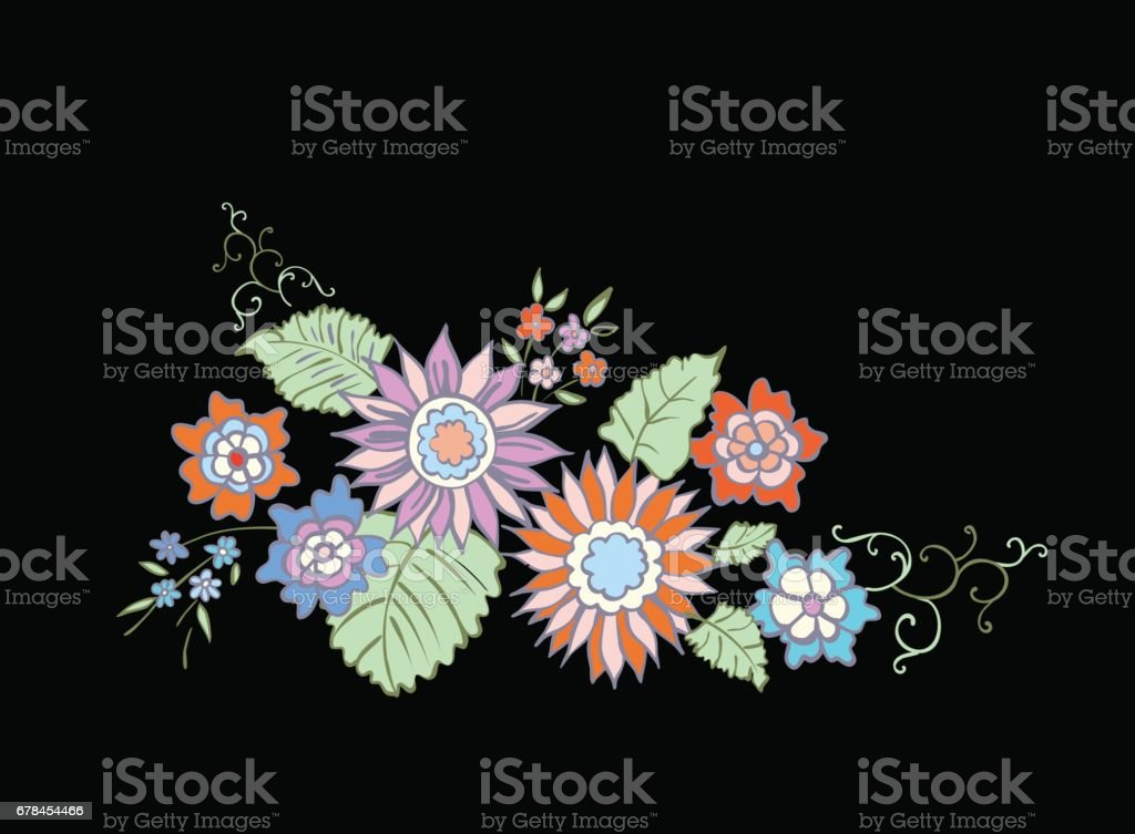Illustration of floral background hand drawn. Design in oriental style for banner, poster, card, invitation and scrapbook. royalty-free illustration of floral background hand drawn design in oriental style for banner poster card invitation and scrapbook stock vector art & more images of arrangement
