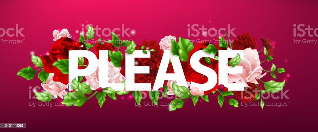 illustration of flower with lettering Please vector art illustration