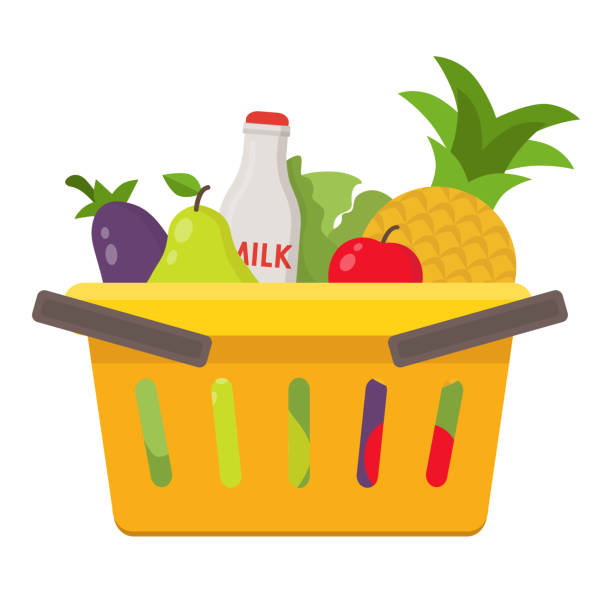 illustration of food and drink products into basket Flat design colored vector illustration of food and drink products into basket. Vector flat illustration shopping list stock illustrations