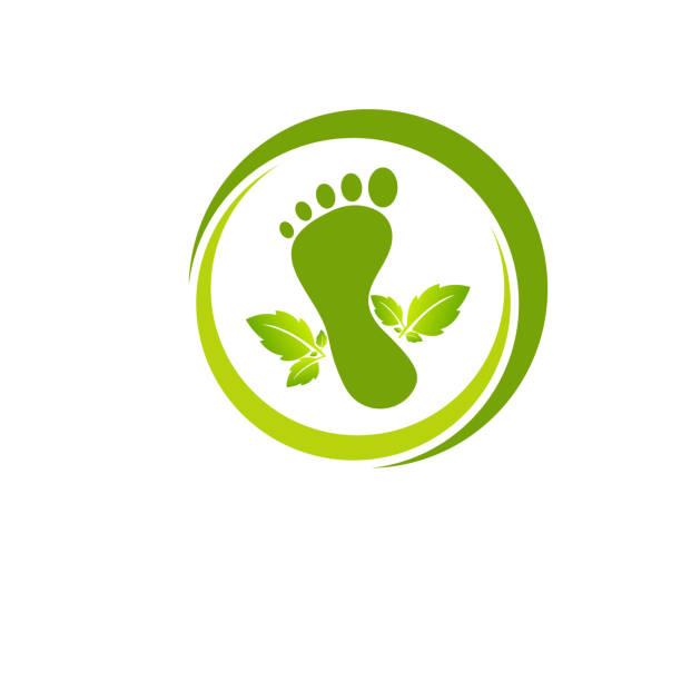 Illustration of foot made by green leaves vector art illustration