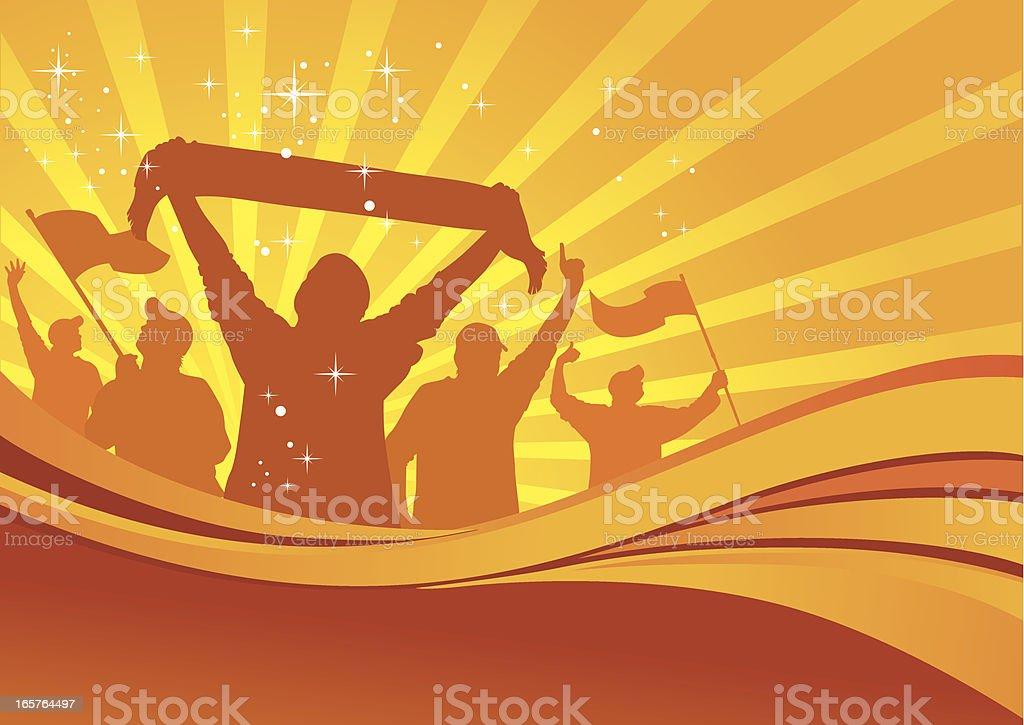 Illustration of football fans celebrating royalty-free stock vector art