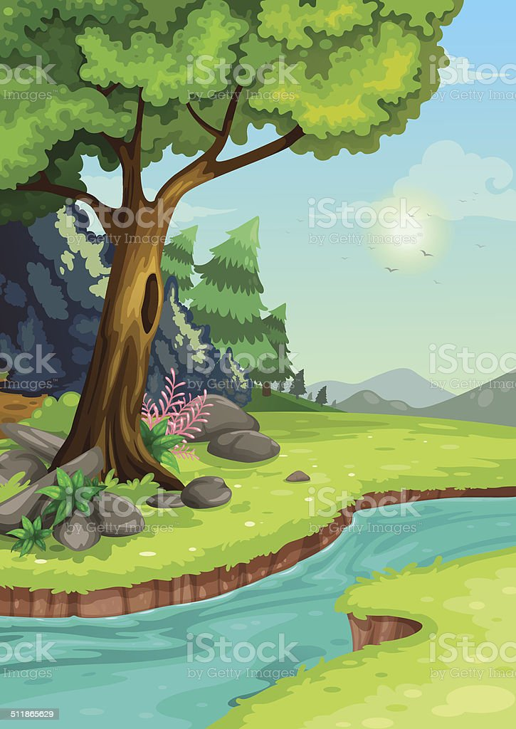 illustration of forest with a river background vector vector art illustration