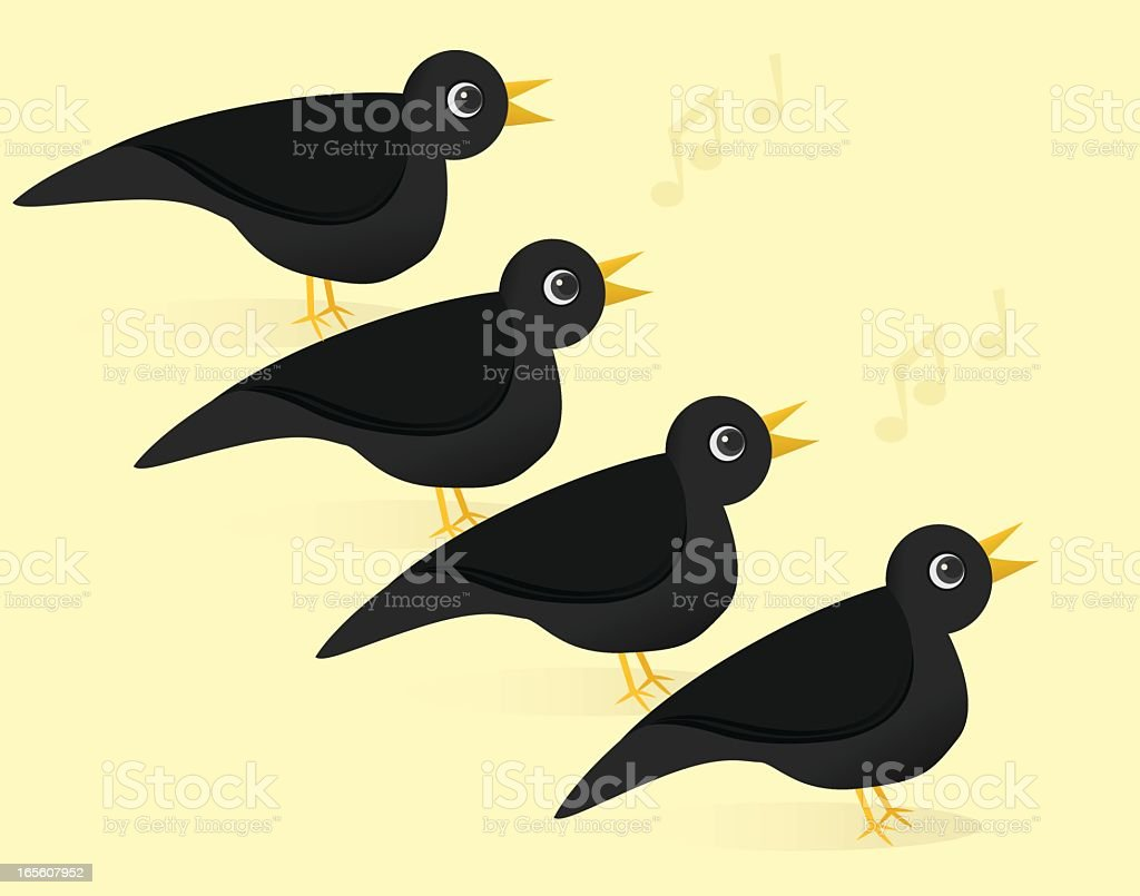 Illustration of four black calling birds royalty-free illustration of four black calling birds stock vector art & more images of bird