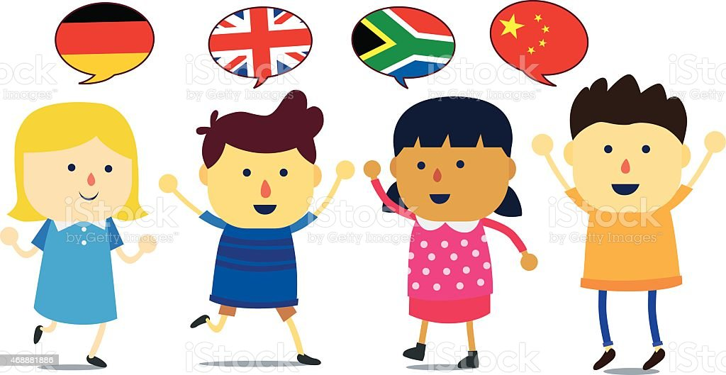 Set Of Cartoon Childrens Faces Stock Vector Art More: Illustration Of Four Cartoon Kids Representing Countries