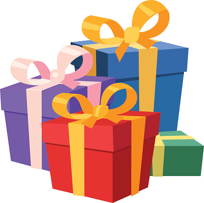 Illustration of four Christmas gifts