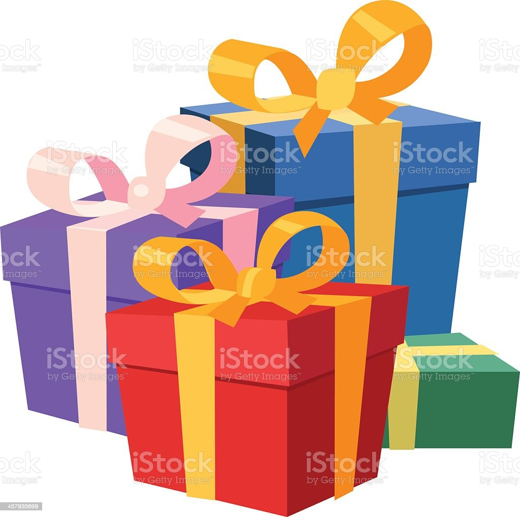 Illustration of four Christmas gifts vector art illustration