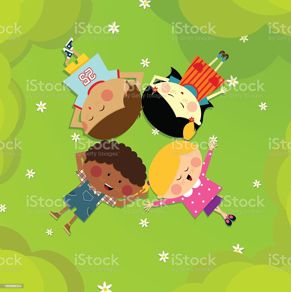 Illustration of four friends lying on grass with flowers vector art illustration