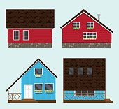 Illustration of four houses.