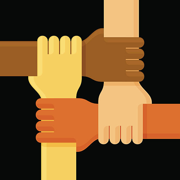 Illustration of four interlinked hands on black background Ready to use, layers optimized for easy editing and color variations. four people stock illustrations