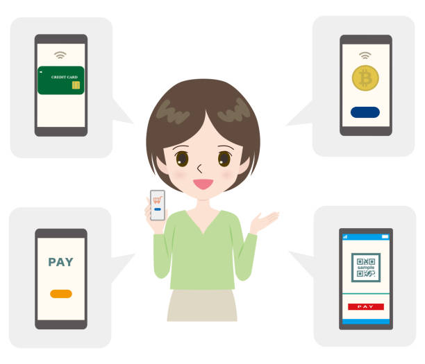 Illustration of four types of mobile payments with a young woman. vector art illustration