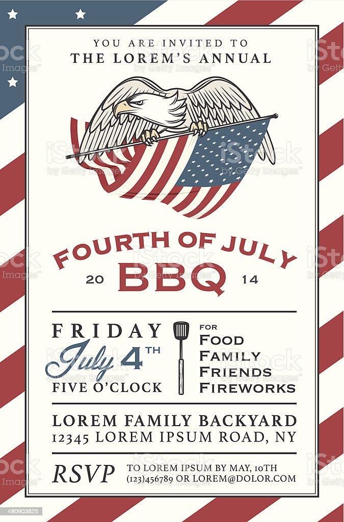 Illustration of Fourth of July barbecue invitation vector art illustration