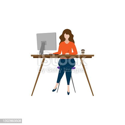 istock illustration of freelance working at home with vector design computers 1202863508