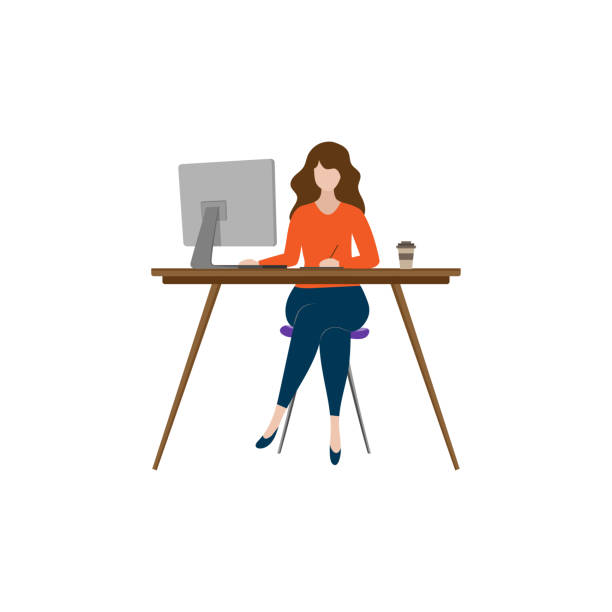illustration of freelance working at home with vector design computers - working from home stock illustrations