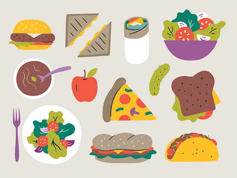 Illustration of fresh lunch entrees — hand-drawn vector elements
