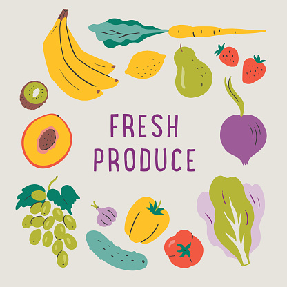 Illustration of fresh produce with copy space — hand-drawn vector elements