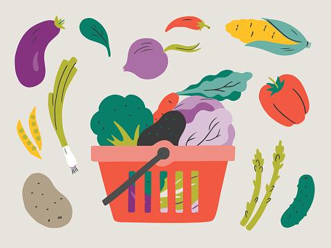 Illustration of fresh vegetables in shopping basket — hand-drawn vector elements
