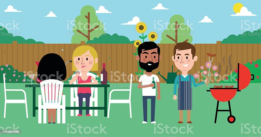 Illustration Of Friends Having Barbecue In Garden vector art illustration