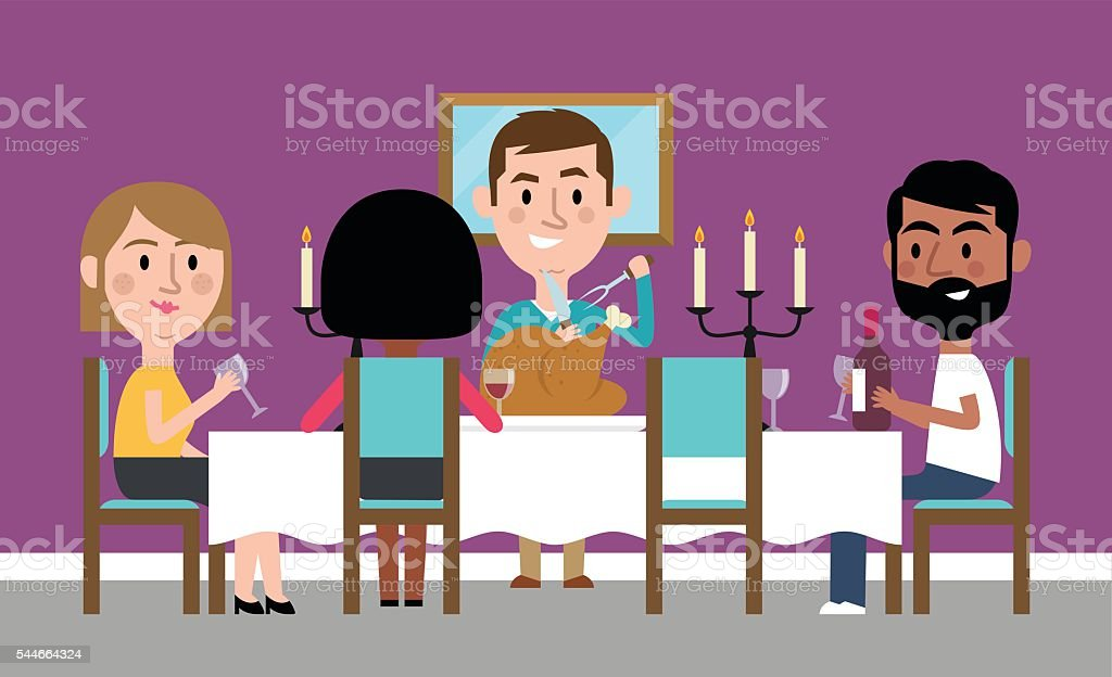 Illustration Of Friends Having Dinner Party At Home vector art illustration